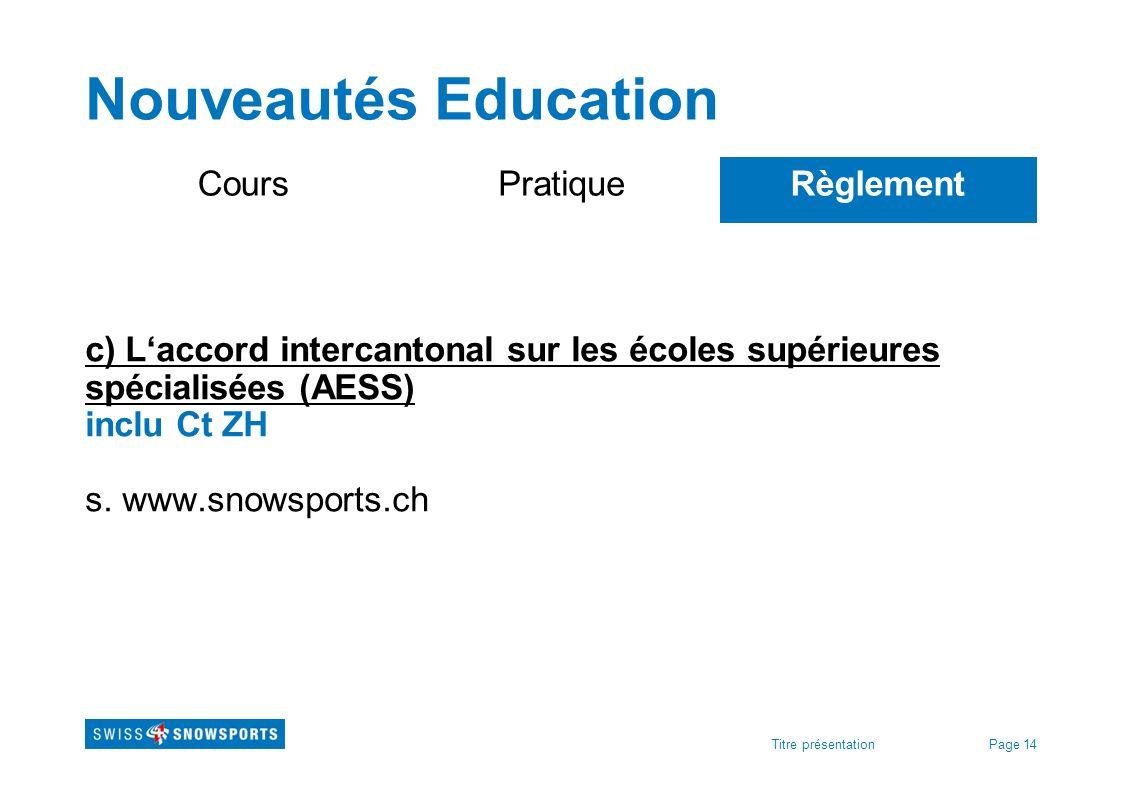 Nouveautés Education Cours Pratique Règlement