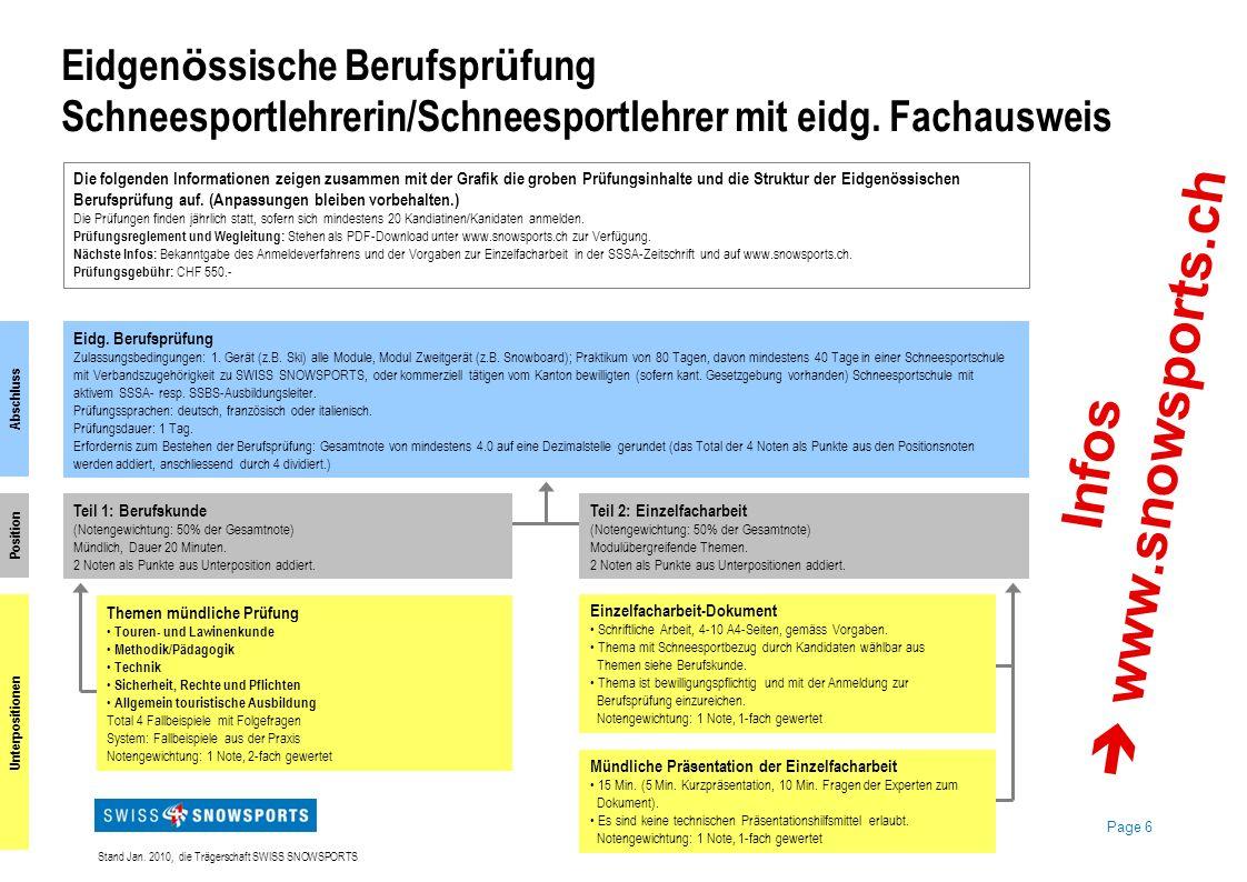 Infos  www.snowsports.ch