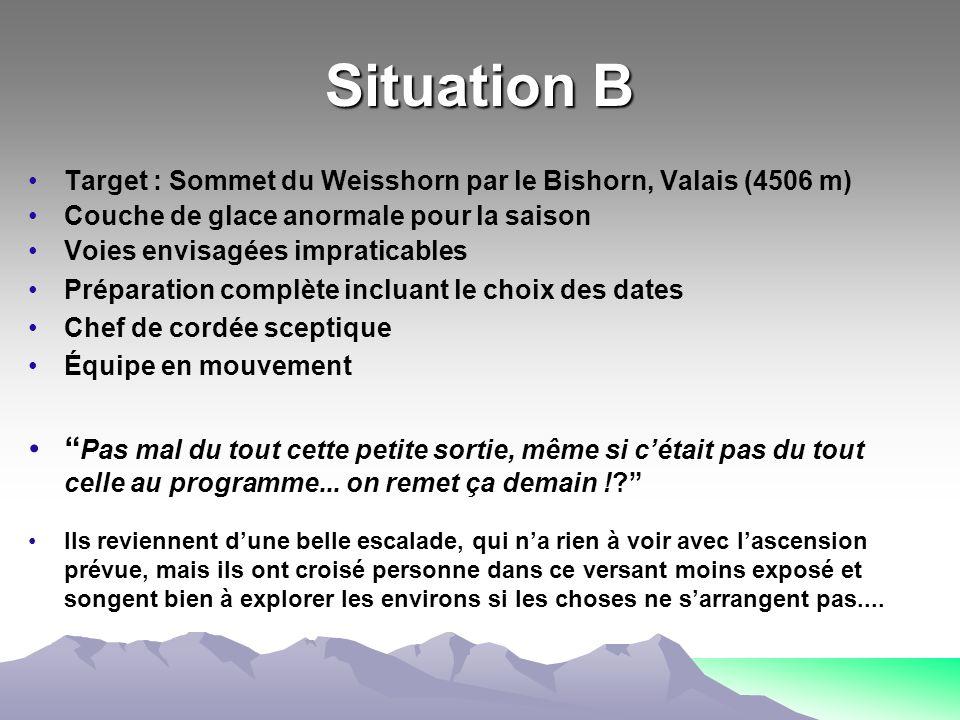 Situation B Target : Sommet du Weisshorn par le Bishorn, Valais (4506 m) Couche de glace anormale pour la saison.