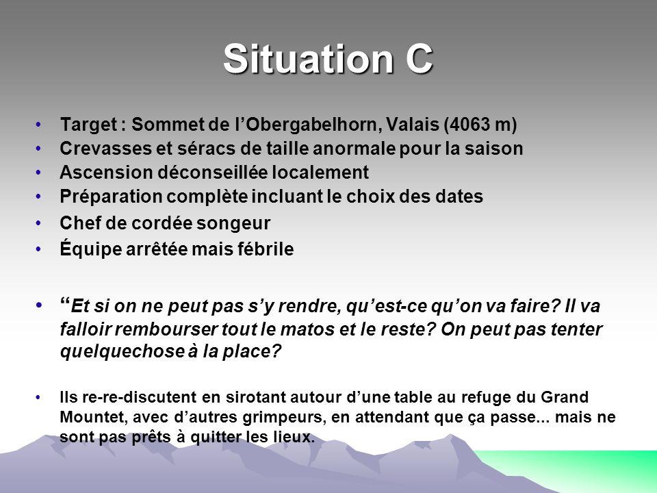Situation C Target : Sommet de l'Obergabelhorn, Valais (4063 m) Crevasses et séracs de taille anormale pour la saison.