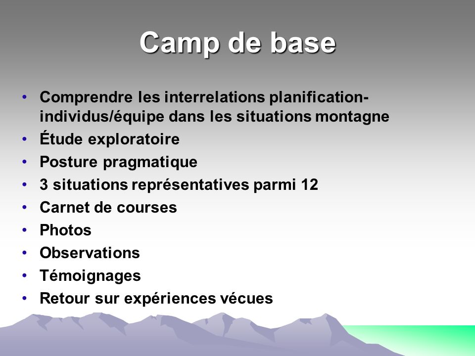 Camp de base Comprendre les interrelations planification-individus/équipe dans les situations montagne.