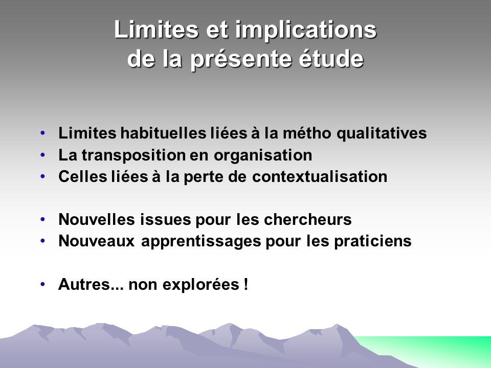 Limites et implications de la présente étude
