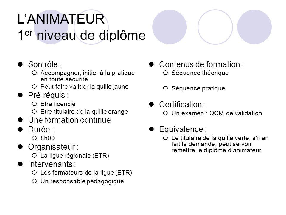 L'ANIMATEUR 1er niveau de diplôme
