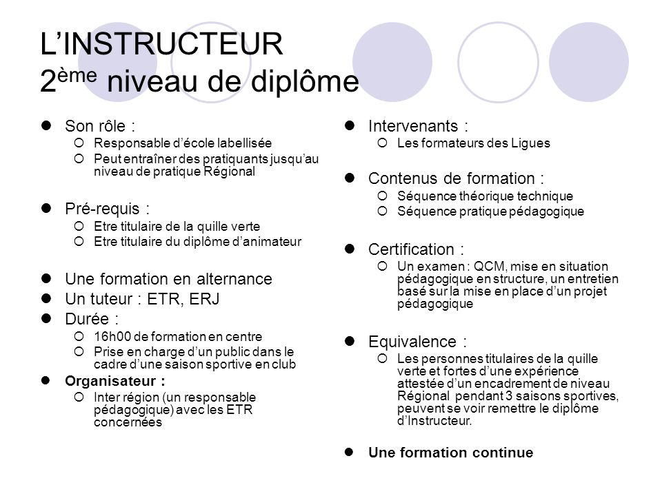 L'INSTRUCTEUR 2ème niveau de diplôme