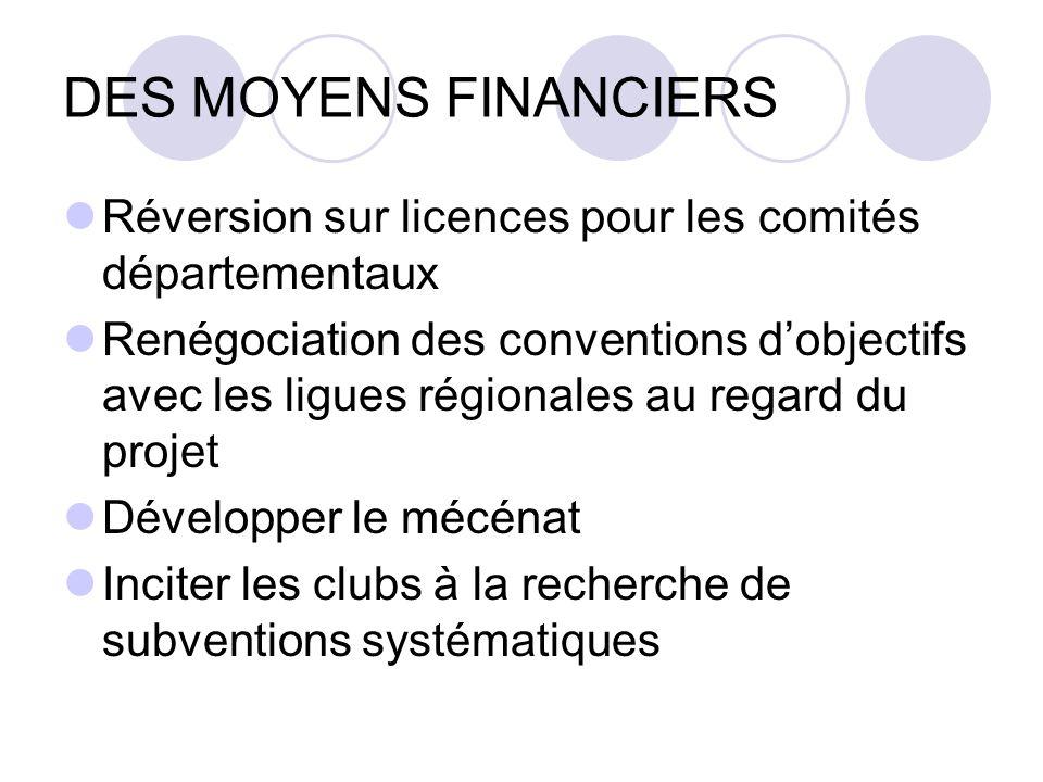 DES MOYENS FINANCIERS Réversion sur licences pour les comités départementaux.