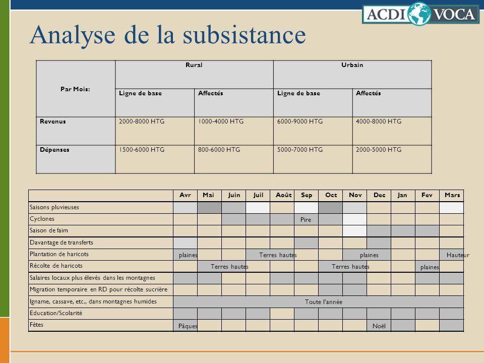Analyse de la subsistance