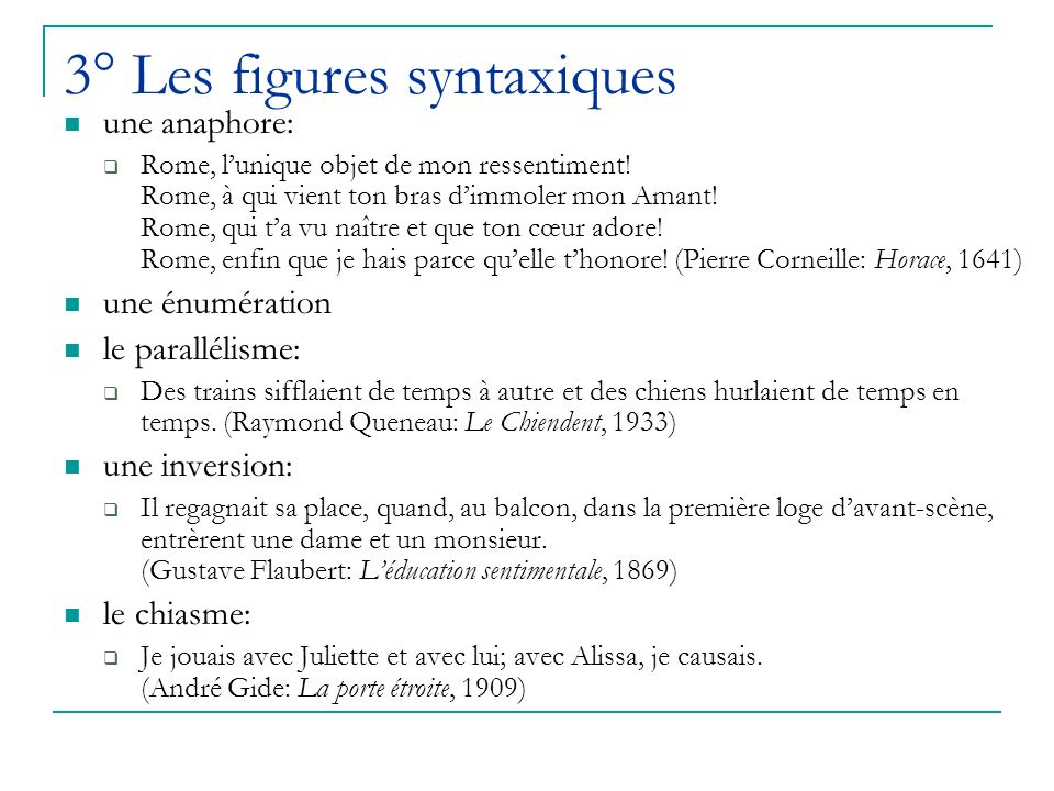 3° Les figures syntaxiques