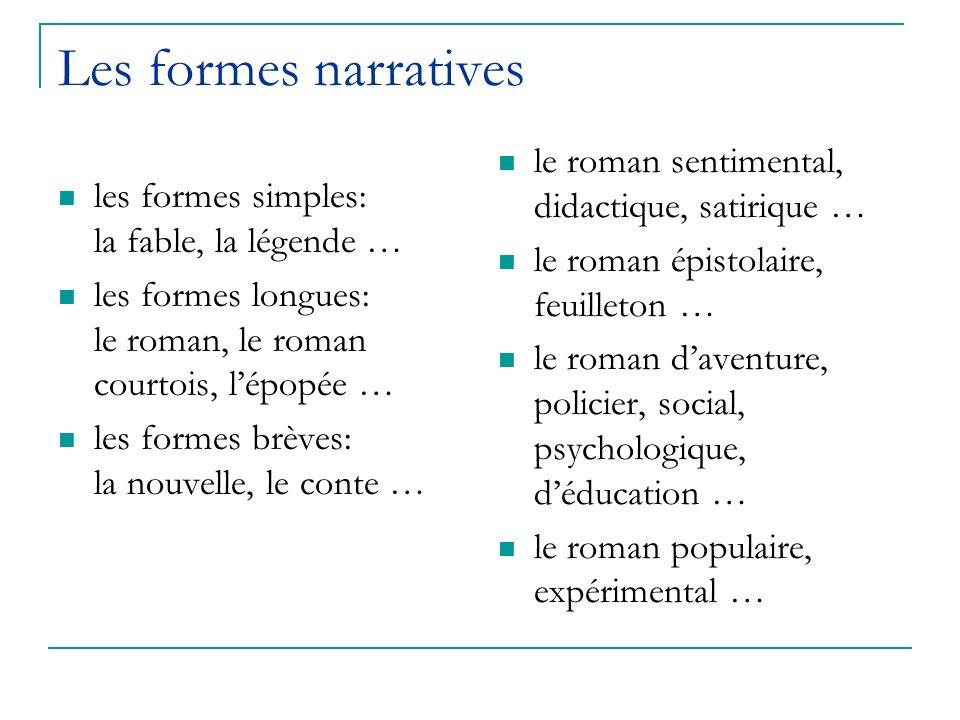 Les formes narratives le roman sentimental, didactique, satirique …