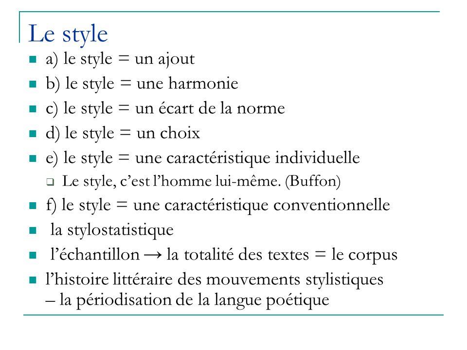 Le style a) le style = un ajout b) le style = une harmonie