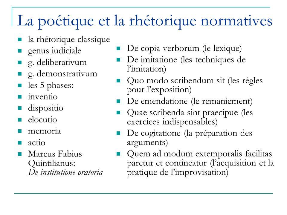 La poétique et la rhétorique normatives