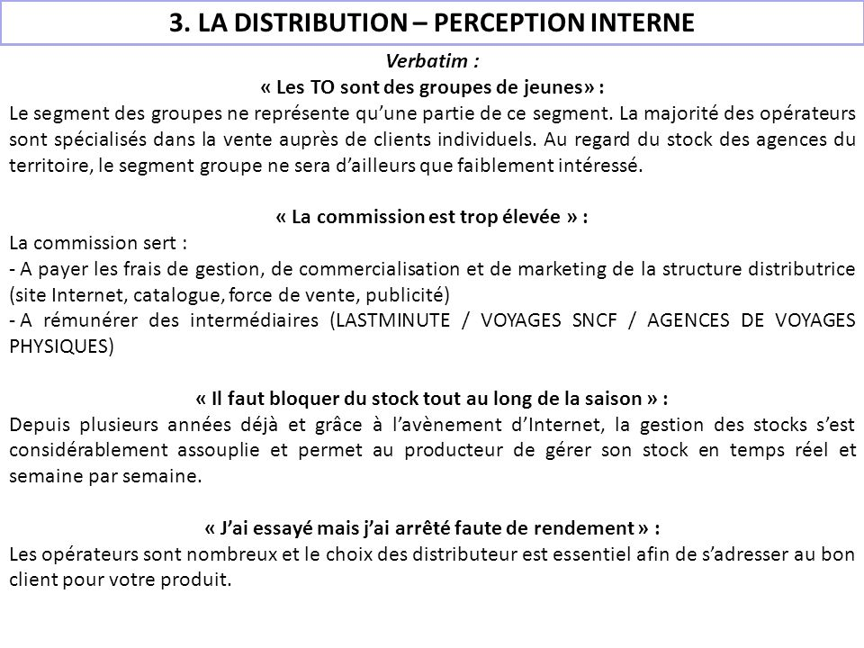 3. LA DISTRIBUTION – PERCEPTION INTERNE
