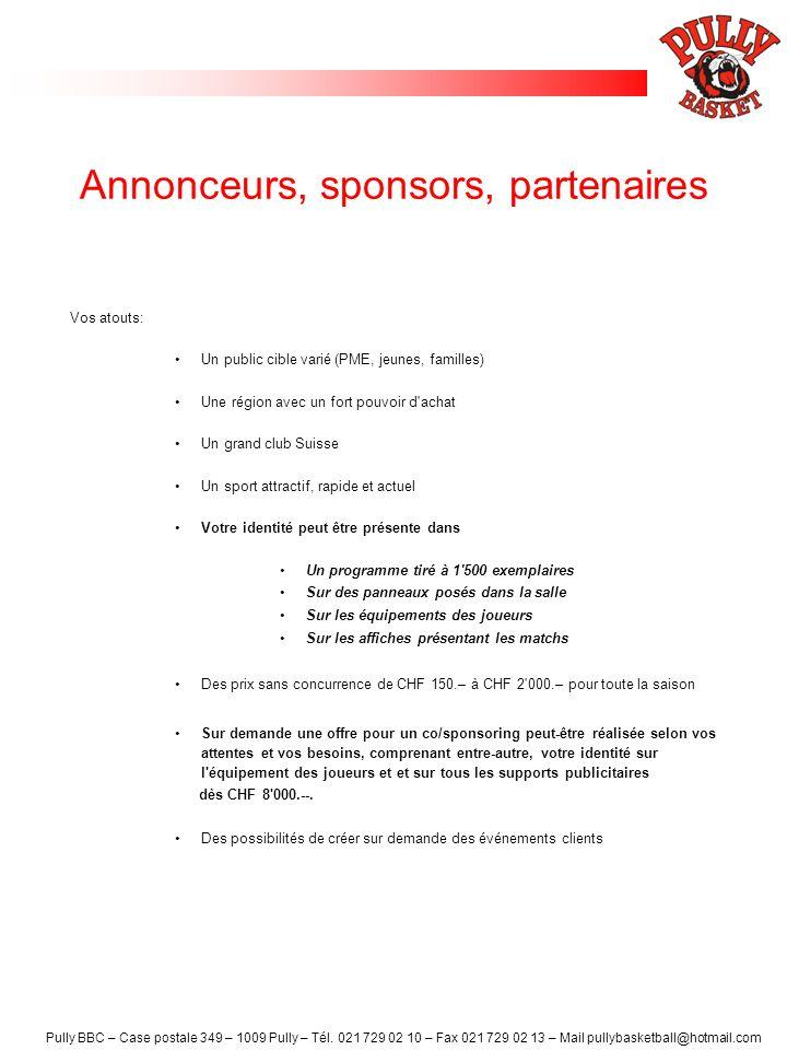 Annonceurs, sponsors, partenaires