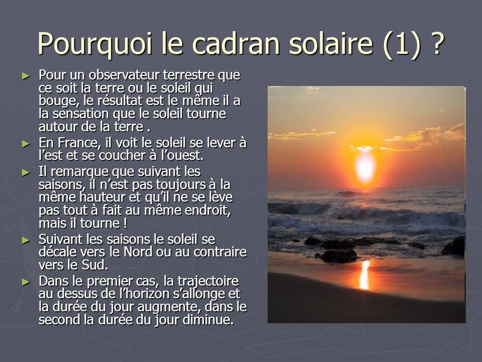 Pourquoi le cadran solaire (1)