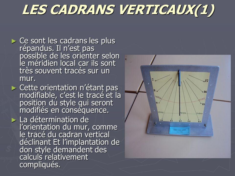LES CADRANS VERTICAUX(1)