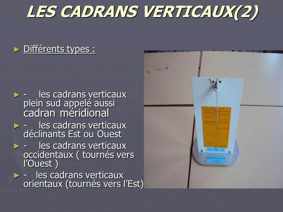 LES CADRANS VERTICAUX(2)