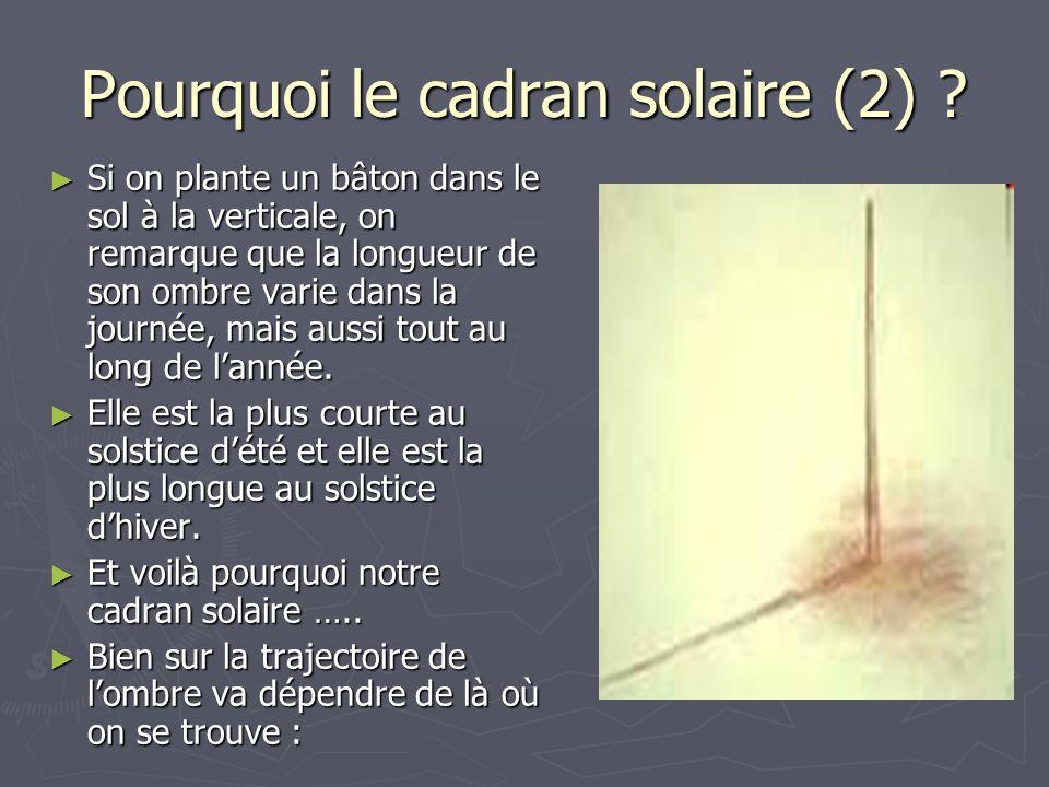 Pourquoi le cadran solaire (2)