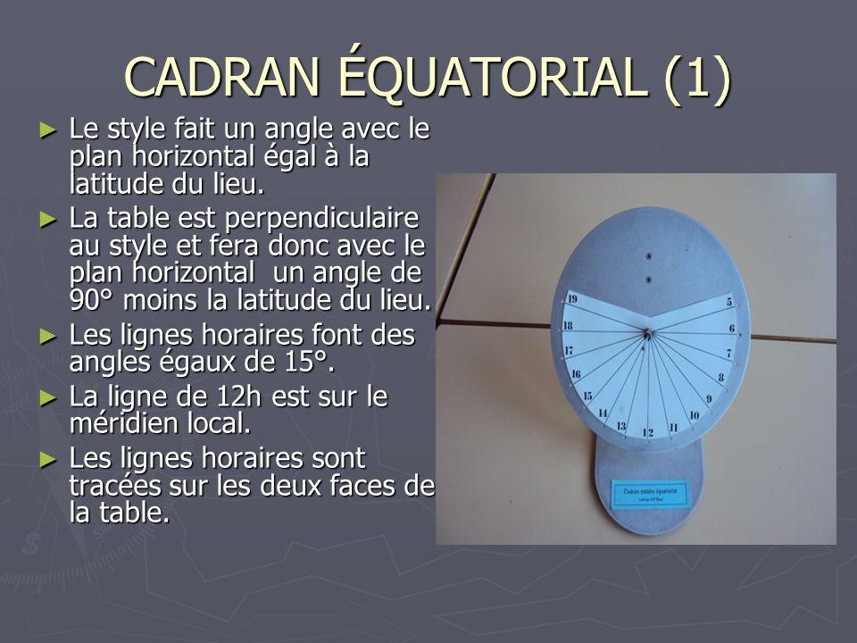 CADRAN ÉQUATORIAL (1) Le style fait un angle avec le plan horizontal égal à la latitude du lieu.