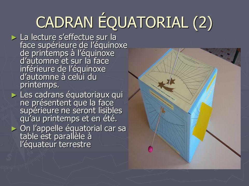 CADRAN ÉQUATORIAL (2)