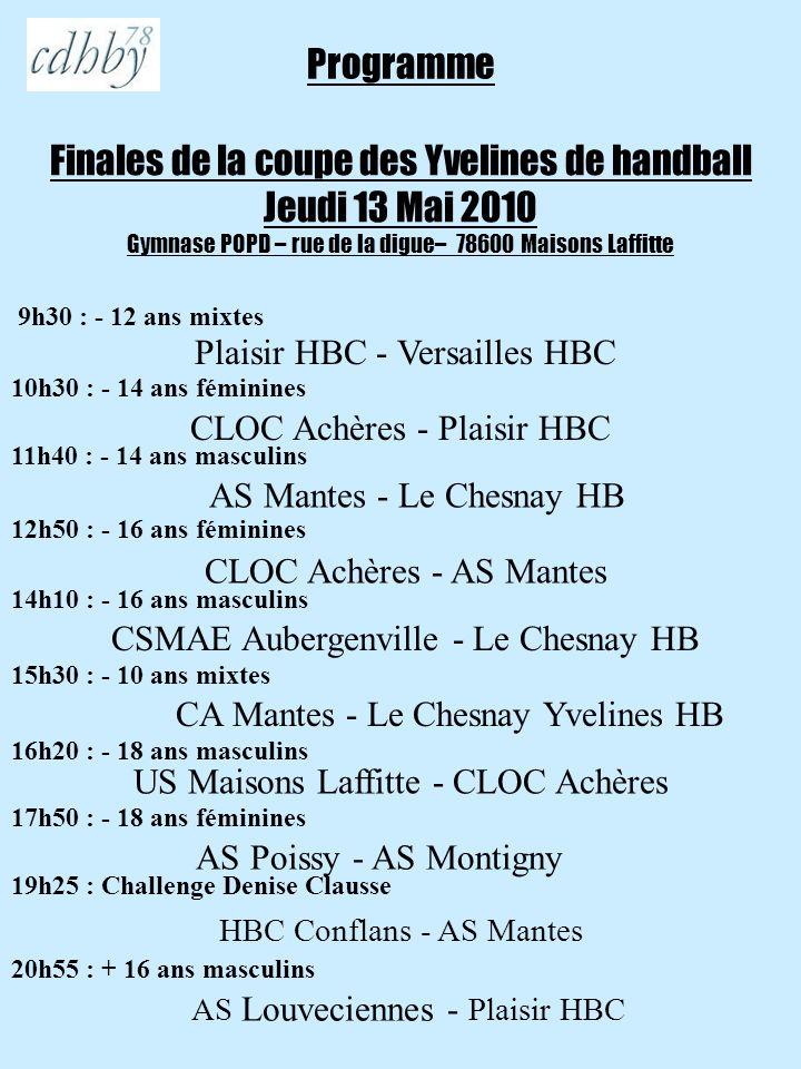 Programme Finales de la coupe des Yvelines de handball Jeudi 13 Mai 2010 Gymnase POPD – rue de la digue– 78600 Maisons Laffitte.