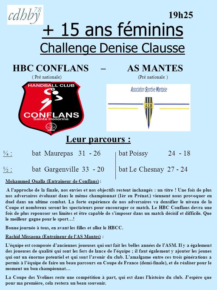 + 15 ans féminins Challenge Denise Clausse