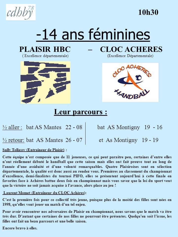 -14 ans féminines 10h30 PLAISIR HBC – CLOC ACHERES Leur parcours :