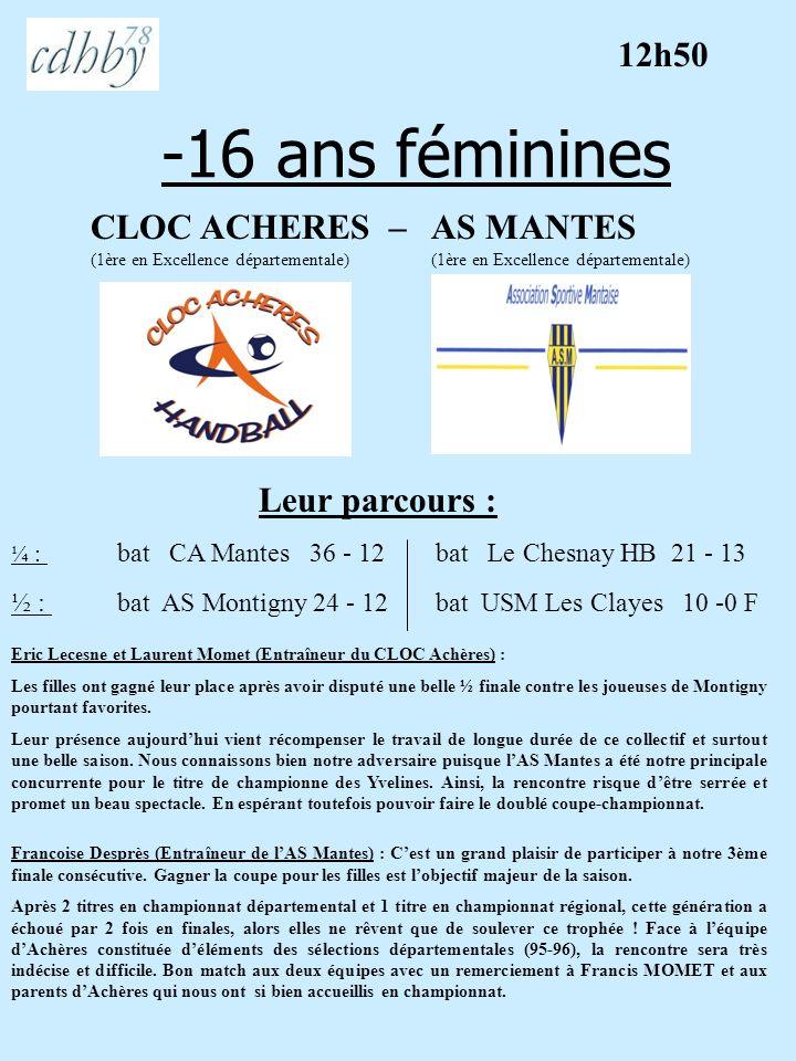 -16 ans féminines 12h50 CLOC ACHERES – AS MANTES Leur parcours :