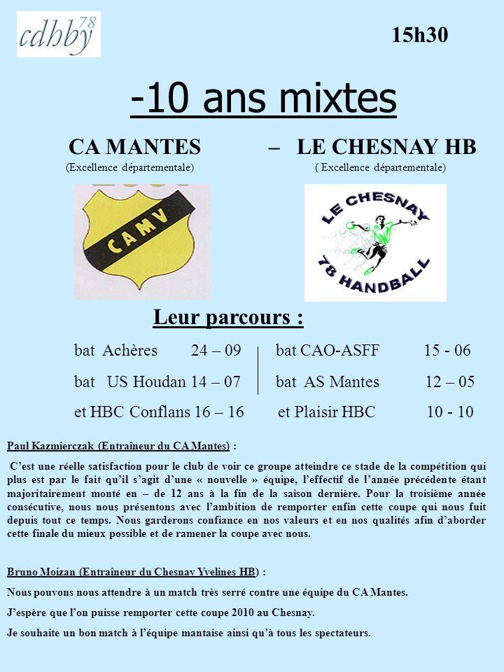 -10 ans mixtes 15h30 CA MANTES – LE CHESNAY HB Leur parcours :