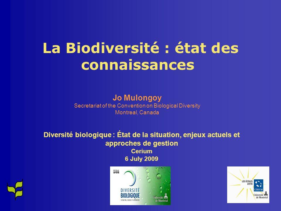 La Biodiversité : état des connaissances