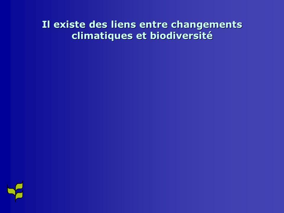 Il existe des liens entre changements climatiques et biodiversité