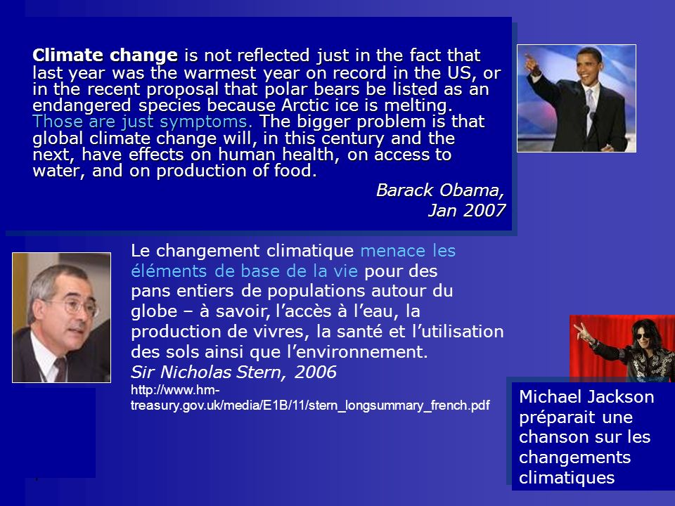 Climate change is not reflected just in the fact that last year was the warmest year on record in the US, or in the recent proposal that polar bears be listed as an endangered species because Arctic ice is melting. Those are just symptoms. The bigger problem is that global climate change will, in this century and the next, have effects on human health, on access to water, and on production of food.