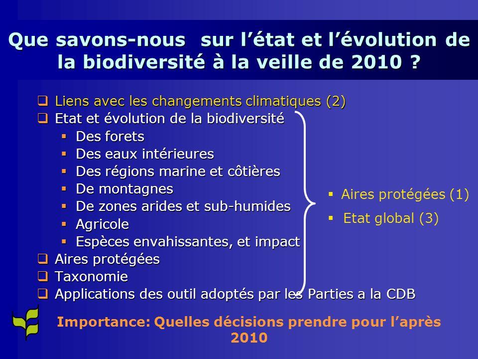Importance: Quelles décisions prendre pour l'après 2010
