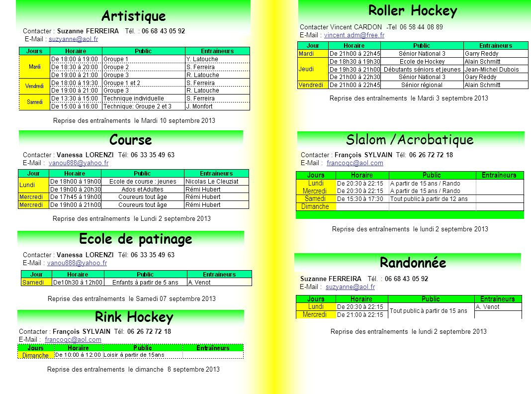 Roller Hockey Artistique Course Slalom /Acrobatique Ecole de patinage