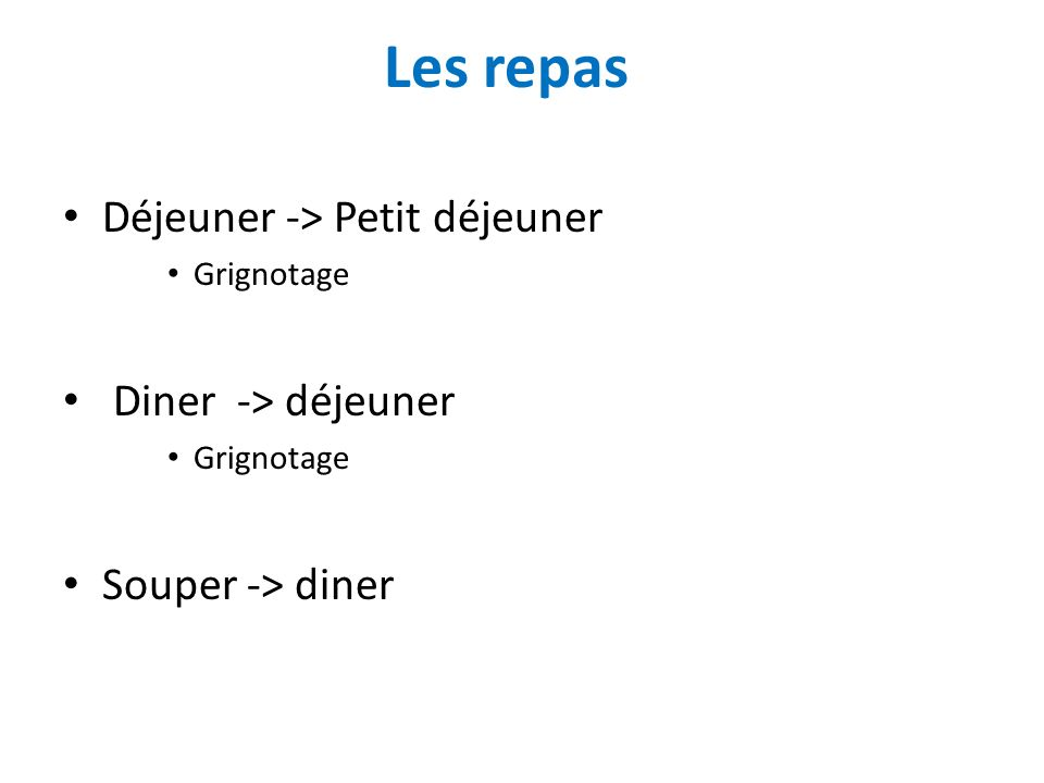 Les repas Déjeuner -> Petit déjeuner Diner -> déjeuner