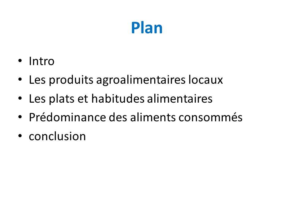 Plan Intro Les produits agroalimentaires locaux