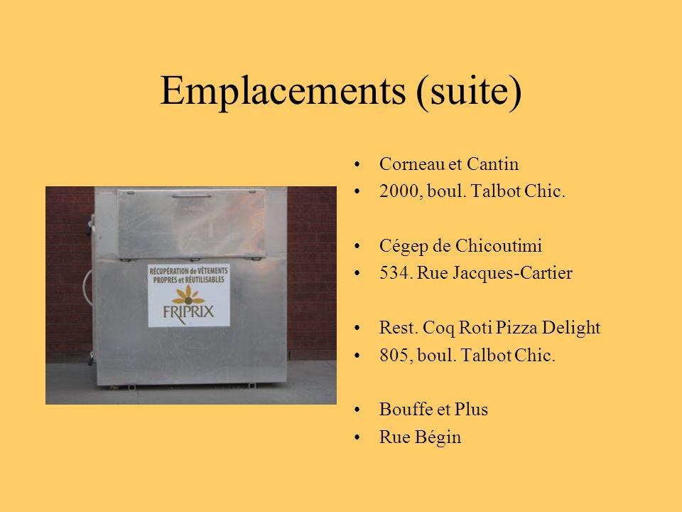 Emplacements (suite) Corneau et Cantin 2000, boul. Talbot Chic.
