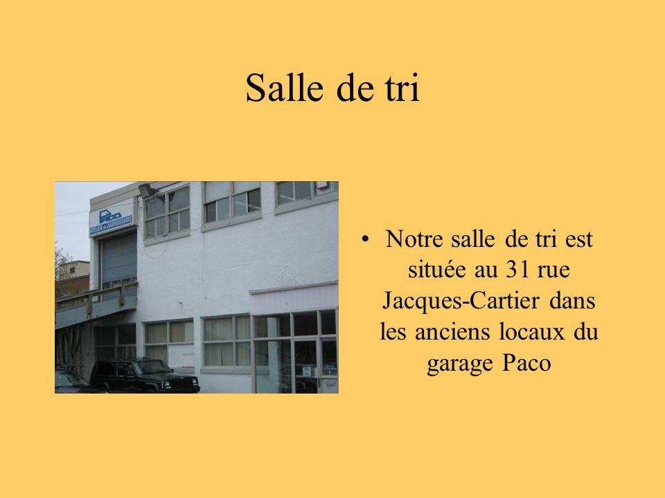 Salle de tri Notre salle de tri est située au 31 rue Jacques-Cartier dans les anciens locaux du garage Paco.