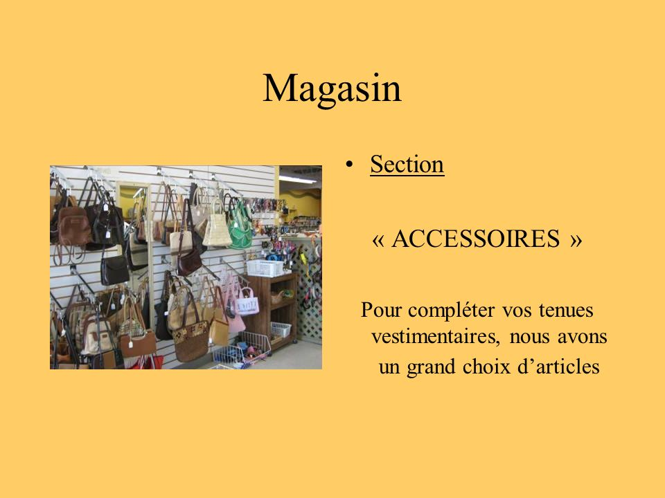 Magasin Section « ACCESSOIRES »