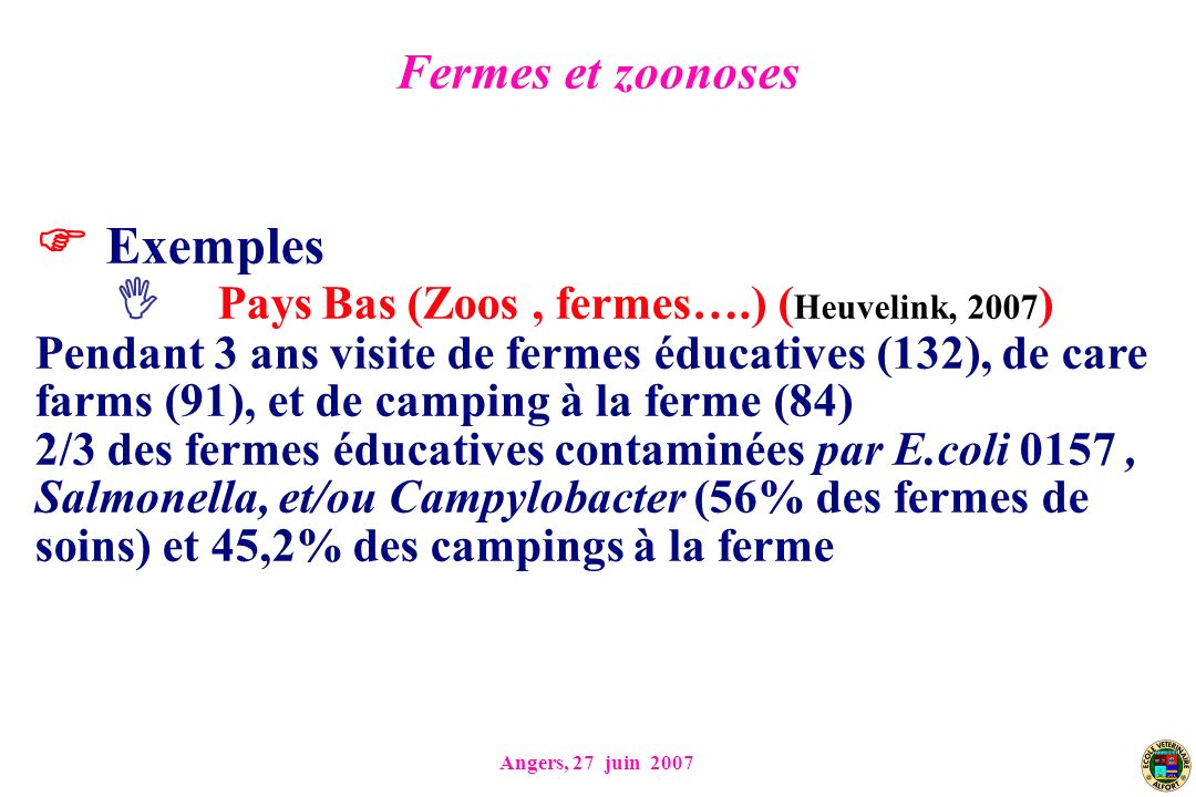 Exemples Pays Bas (Zoos , fermes….) (Heuvelink, 2007)