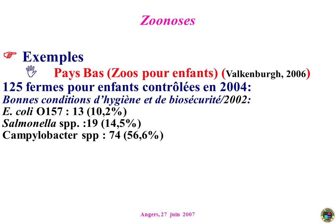 Exemples Pays Bas (Zoos pour enfants) (Valkenburgh, 2006) Zoonoses