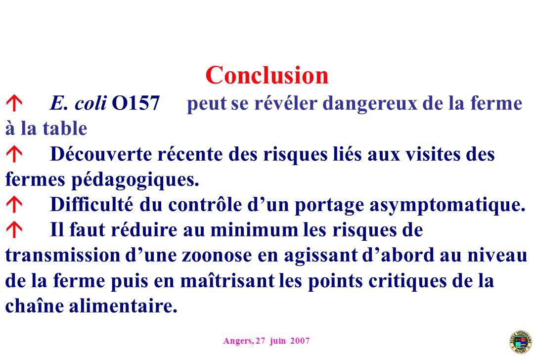 Conclusion  E. coli O157 peut se révéler dangereux de la ferme à la table.
