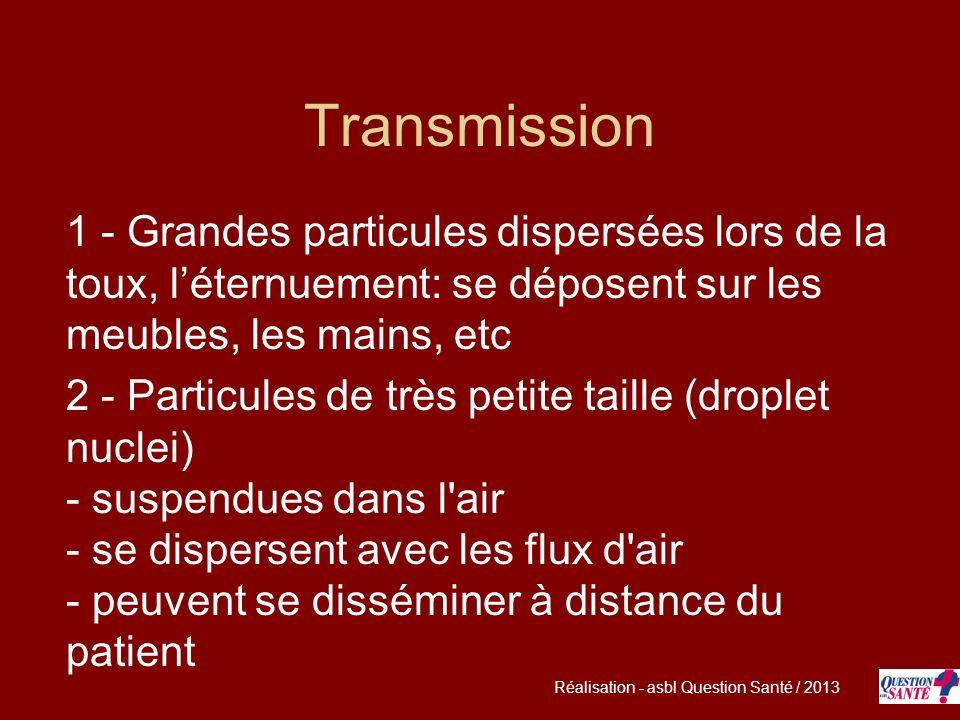 Transmission 1 - Grandes particules dispersées lors de la toux, l'éternuement: se déposent sur les meubles, les mains, etc.