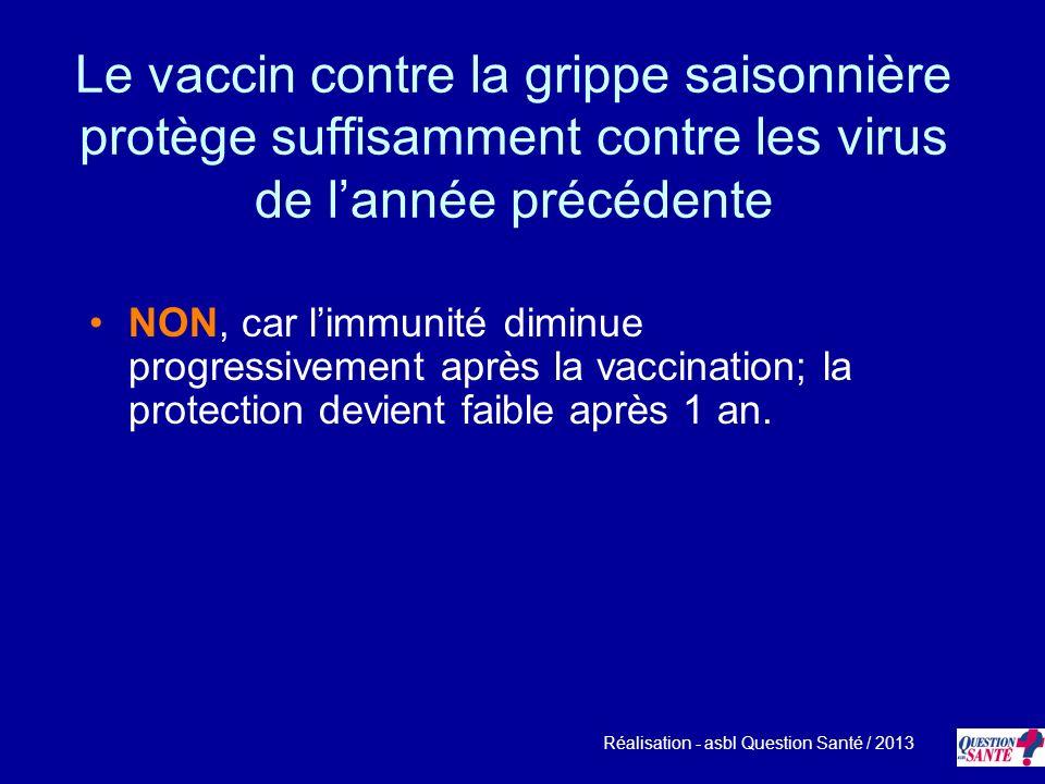 Le vaccin contre la grippe saisonnière protège suffisamment contre les virus de l'année précédente