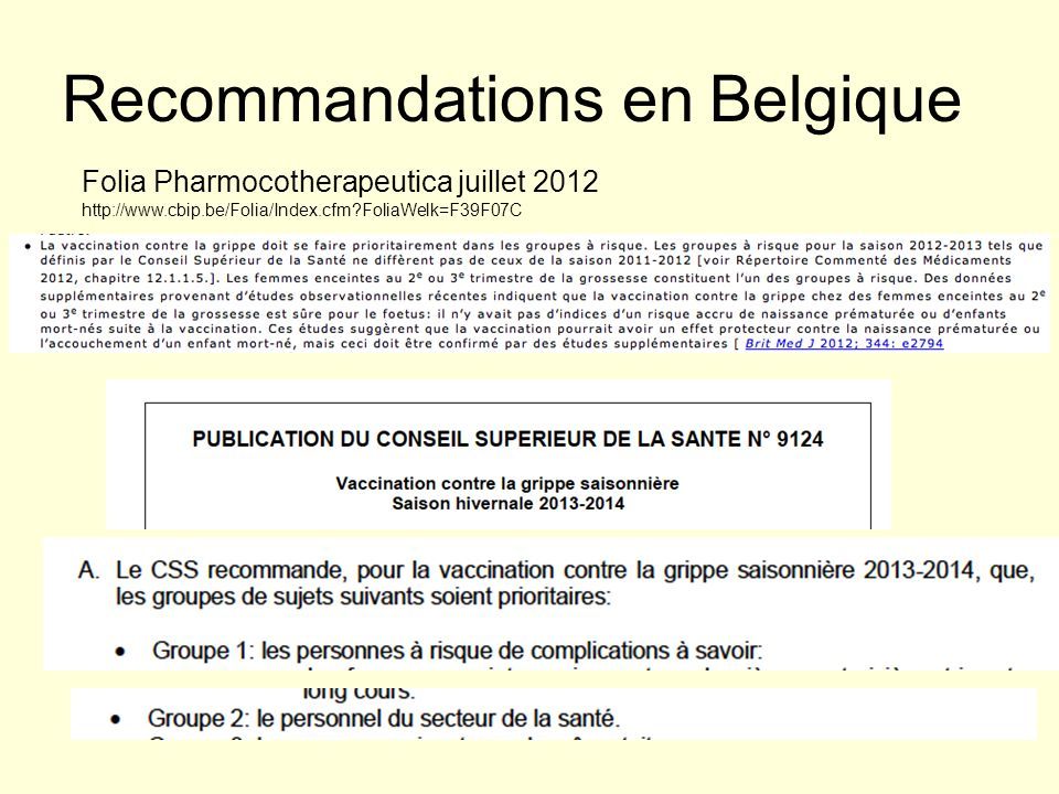 Recommandations en Belgique