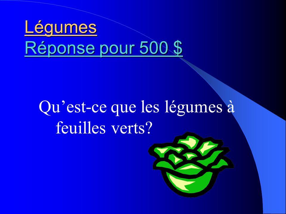 Légumes Réponse pour 500 $ Qu'est-ce que les légumes à feuilles verts