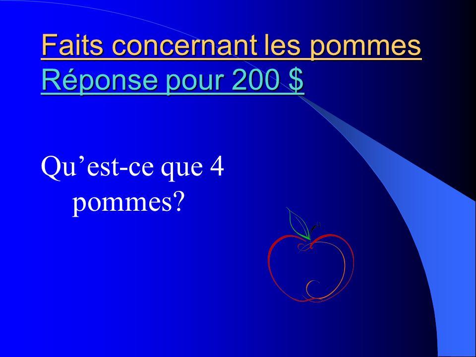 Faits concernant les pommes Réponse pour 200 $