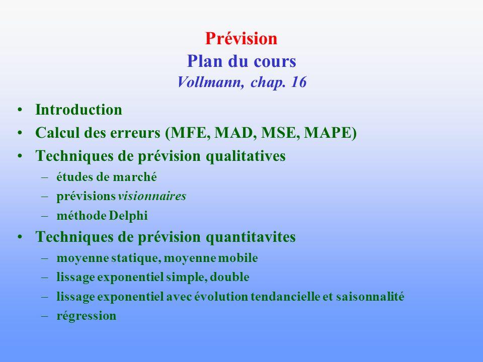 Prévision Plan du cours Vollmann, chap. 16