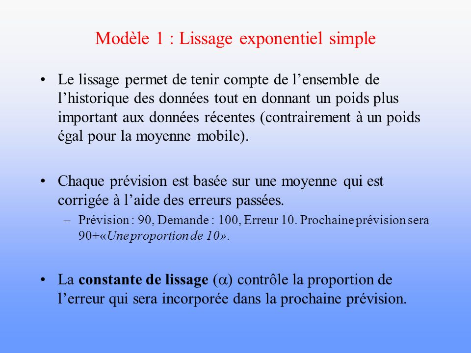 Modèle 1 : Lissage exponentiel simple