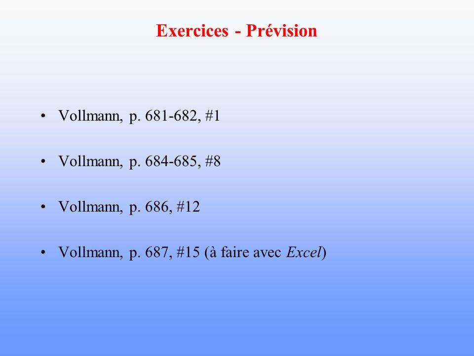 Exercices - Prévision Vollmann, p. 681-682, #1