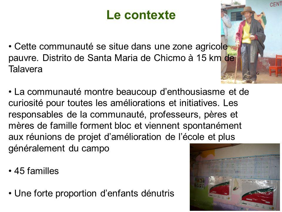 Le contexte Cette communauté se situe dans une zone agricole pauvre. Distrito de Santa Maria de Chicmo à 15 km de Talavera.