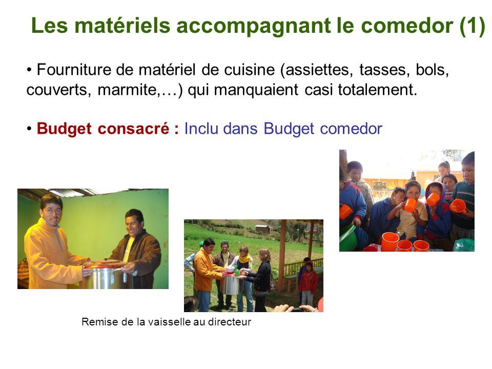Les matériels accompagnant le comedor (1)